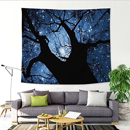 Sternenhimmel großer Baum Mond Dekoration Wandteppich hängen Stoff Hintergrund Stoff Dekoration Wandbehang Wandbild