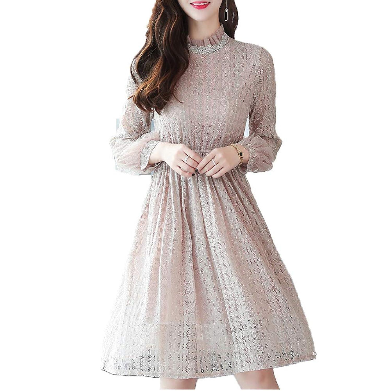 [美しいです]春夏秋 レディース 長袖 レース 透かし彫り プリーツスカート 結婚式 パーティー 二次会 ワンピース スリム カジュアル ロングドレス ゆったり デザインセンス エレガント スカート 気質