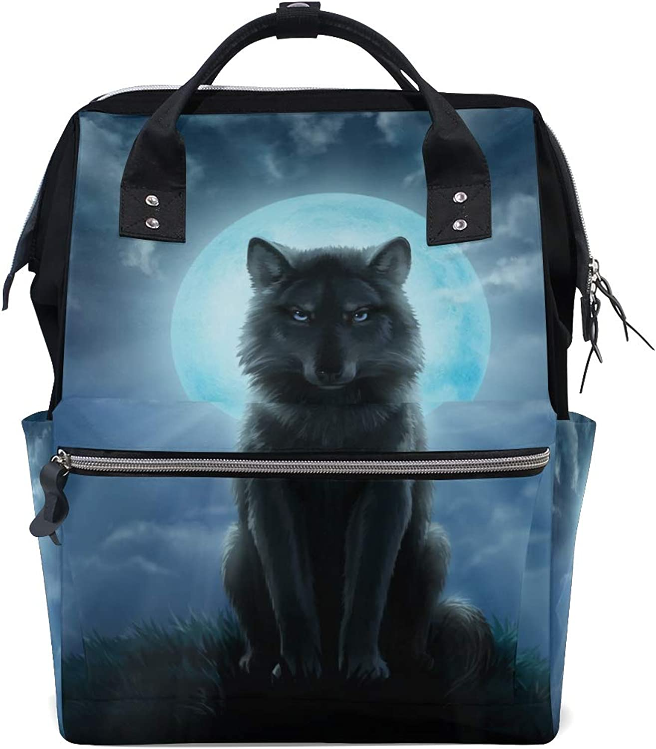 ColourLife Diaper bag Backpack Moon Night Wolf Tote Bag Casual Daypack Multifunctional Nappy Bags
