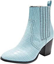 Ladies Square-Heeled Pointed Slip-On High Heels Large Size Short Boots