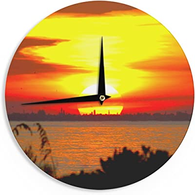 Kess InHouse Philip Brown Sunset Beach Coral Gold Wall Clock 12
