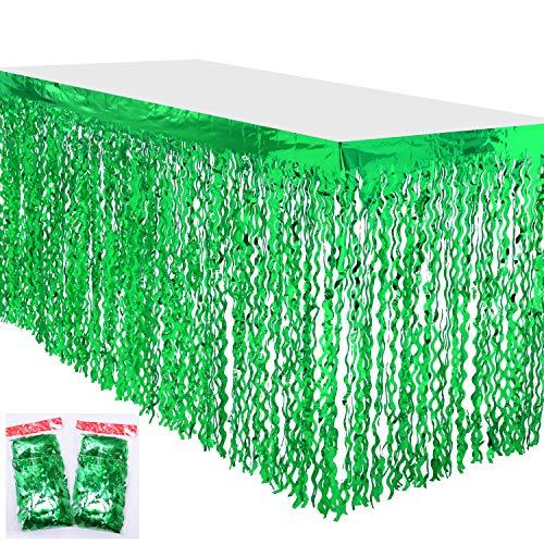 Leegleri Plastic Metallic Foil Fringe Table Skirt Tinsel Curly Willow Party Table Skirt Banner for Mardi Gras Party (Wavy Green, 2 PACK)