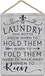 Plaque en métal en bois pour buanderie, inscription « Laundry.You Gotta Know When to Hold Them » (20,3 x 30,5 cm)