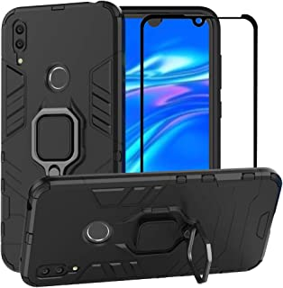 BestAlice for Huawei Y7 2019 Case, Hybrid Heavy Duty Protection Shockproof Defender Kickstand Armor Case Cover Tempered Glass Screen Protector,Black