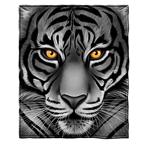 Dawhud Direct White Tiger Face Super Soft Plush Fleece Throw Blanket