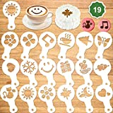Konsait 19Pack Cookie Stencil Templates Decoration, Reusable Cake Cookie Baking Painting Mold Tools,Drawing Templates,Dessert, Coffee Decorating Molds Cake Stencil Cappuccino Mousse Hot Chocolate