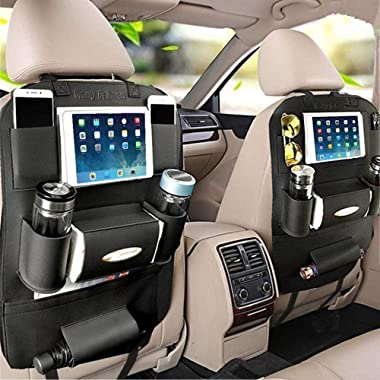 PALMOO Pu Leather Car Seat Back Organizer and iPad mini Holder, Universal Use as Car Backseat Organizer for Kids, Storage Bottles, Tissue Box, Toys (2 Pack, Black)