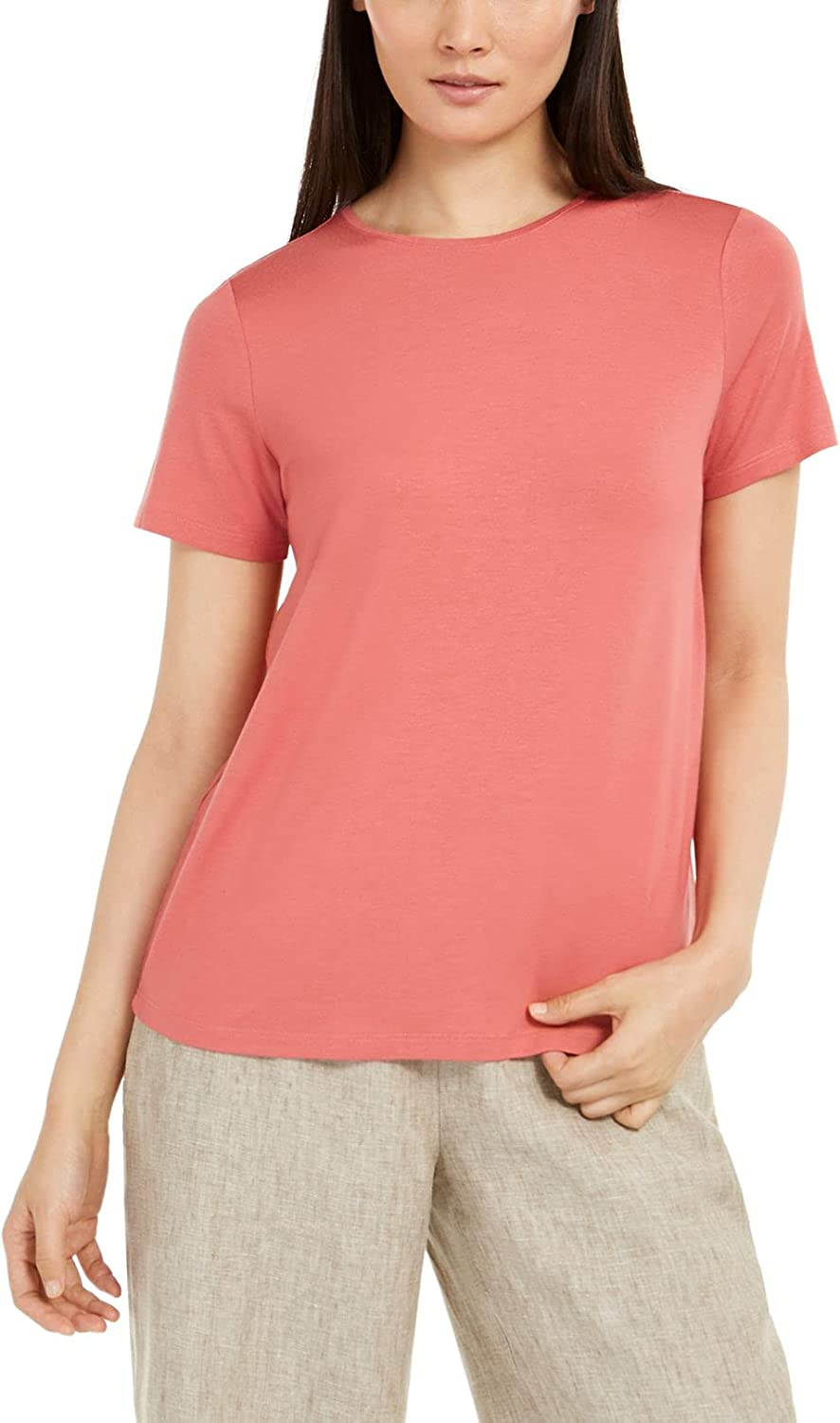 Eileen Fisher Womens Top Plus Knit Crewneck Stretch Tee Red XS