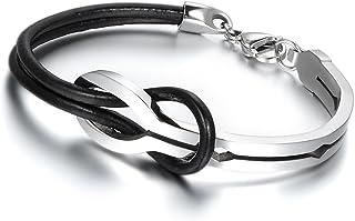 Oidea - Bracciale da uomo e da donna, con simbolo dell'infinito, in acciaio inox e cuoio, nero e argento
