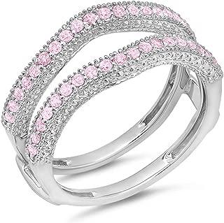 Dazzlingrock Collection 0.45 Carat (ctw) 14k Gold Pink Sapphire Diamond Ladies Wedding Band Millgrain Guard Double Ring 1/2 CT