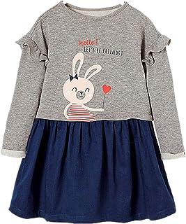 Vestido Dibujos Floral Manga Larga Algodón Casual Niñas 2-7 Años