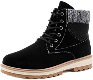 Naisidier Men Plush Ankle Boots Anti Slip Lace Up Comfort Leather Short Boots Warm Boots for Walking Running in The Snow