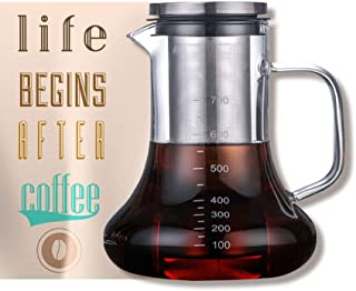 Beverg Cold-Brew 700ml Iced-Coffee-Maker Glass-Carafe with Tea Infuser Airtight Lid Removable Stainless-Steel Filter Dishwasher Safe