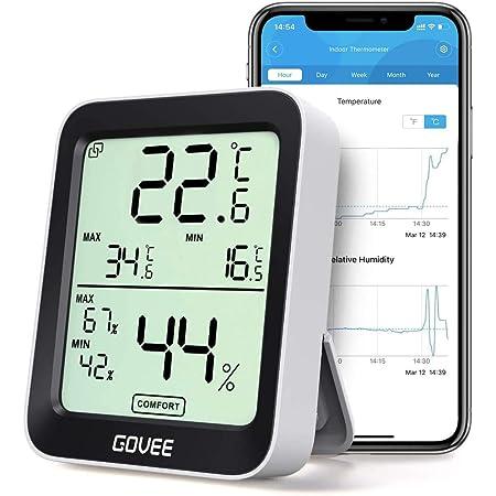 Govee Termómetro Higrómetro, LCD Bluetooth Medidor Digital Humedad y Temperatura Interior con Función Almacenamiento de Datos y Alerta, para Habitación