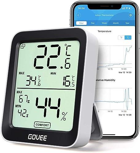 Govee Thermomètre Hygromètre Intérieur Petit Moniteur Mini Numérique à Haute Précision Capteur Humidité Température, ...