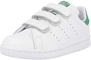 adidas Stan Smith CF C, Chaussures de Fitness Mixte Enfant, Blanc (Footwear White/Footwear White/Green 0), 33.5 EU