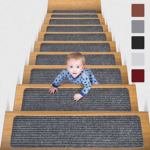 MBIGM 15 Tappetini per Scale (20 x 76 cm) Tappetino Antiscivolo di Sicurezza Runner Interno Antiscivolo per Bambini, Anziani e Animali Domestici con Adesivo Riutilizzabile, Grigio