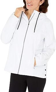 Calvin Klein Performance Women's Hooded Side-Snap Jacket White Medium