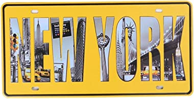 Shinewe New York Plaque d'immatriculation Vintage Old House Décoration murale Garage Art Wall Poster 15 x 30 cm
