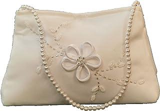 LadyMYP© Brauttasche Brautbeutel mit eleganten Blütenranke aus Satin und Strass, Weiß/Ivory,ca. 11 * 16 cm