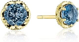 SE25333FY 14K Yellow Gold Petite Crescent Crown London Blue Topaz Earrings