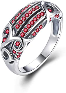 GW Elegant Women Ring 925 Sterling Silver Rings Red Crystals Ring for Women Girls in Size 7/8