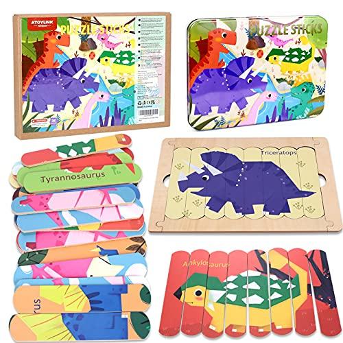 Dinosaurio Puzzles de Madera para iños 3 4 5 6 7 8 Años Montessori Educativos Rompecabezas Juegos Preescolar Aprendizaje de Juguetes Regalos para niños y niñas