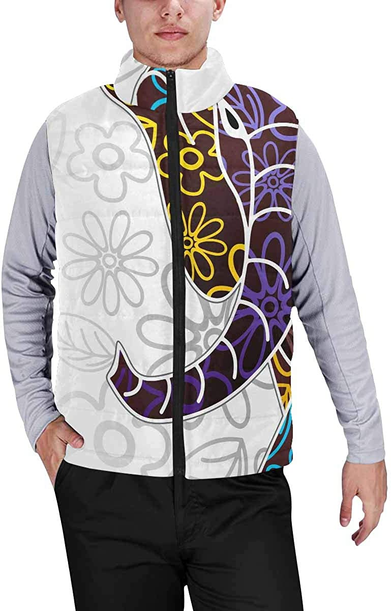 InterestPrint Lightweight Winter Padded with Full Zipper for Men Elephant Colorful Indian
