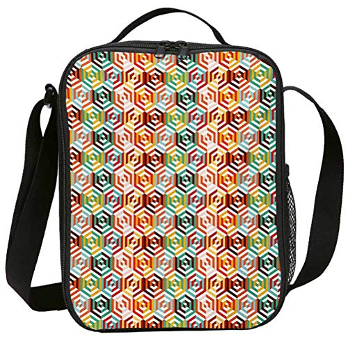 Lunch Bags with Zipper Insulated Lunchbox for School Girls Geometric Abstract Cubes Isometric