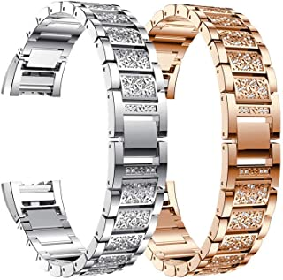 Generic Fitbit Charge Link Bracelet Strap Watch Band AU Crystal Metal AU Crysta Strap Watch Link B Steel Chain ystal Band for Fitbit Charge Color:Random