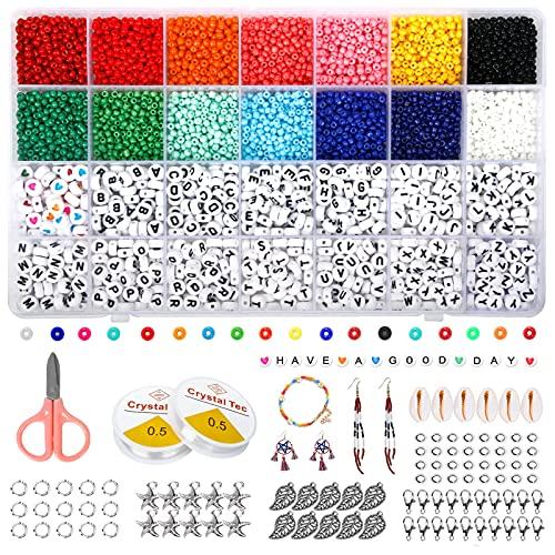 Cuentas de Colores para Los niños, 3mm Mini Cuentas Abalorios Acrílicas de Alfabeto para DIY Pulseras Collares Bisutería Regalo Cadena de Cuentas de Fabricación de Juego