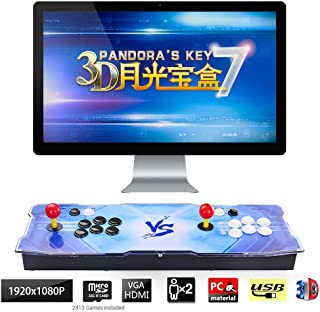 TAPDRA 3D Pandora Key 7 Retro Arcade Game Console | 2413 Retro HD Games(160 in One 3D Games Included) | Full HD 1920x1080 | Support Multiplayers | Add More Games | HDMI/VGA/USB/3.5mm Audio Output