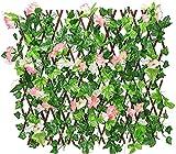 TREEECFCST Privacidad Enrejado Vallas Extensibles Setos retráctiles Valla de celosía expansiva Valla de jardín Valla de Madera con Hoja de Hiedra Artificial 827(Color:Pink;Size:M)