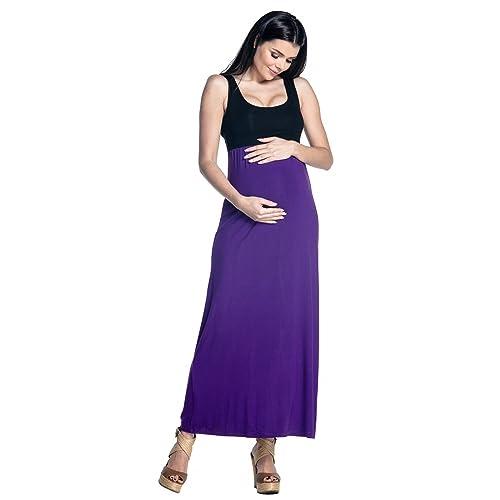 Zeta Ville 292c Womens Maternity Maxi Dress Pleated Empire Waist Scoop Neck
