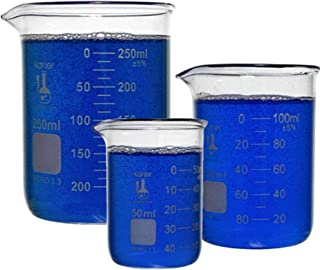 Karter Scientific 214T2, 3.3 Boro, Griffin Low Form, Glass Beaker Set - 3 Sizes - 50ml, 100ml, 250ml
