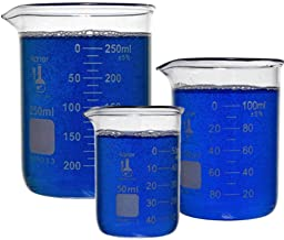Karter Scientific 214T2، 3.3 Boro، Form Low Form Griffin، Set Beaker Glass - 3 اندازه - 50ml، 100ml، 250ml
