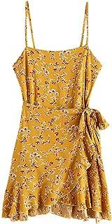 ZAFUL Women's Mini Dress Ruffles Overlap Spaghetti Straps Sleeveless Boho Beach Dress