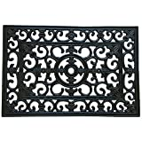 Rubber-Cal 'Blooming' Outdoor Decorative Rubber Cast Iron Doormat, 16 by 24-Inch
