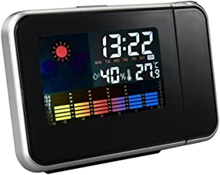 Goolsky Digital Wall Projection Weather LCD Screen Snooze Alarm Dual Laser Rotatable Clock Color Display with LED Backligh...