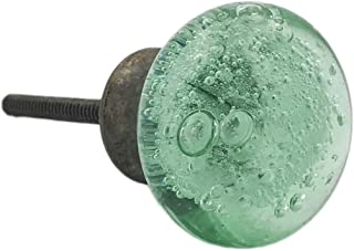 Green Bubbles Glass Oil Bronzed Dresser Drawer, Kitchen Cabinet Drawer or Door Knobs - Pack of 12