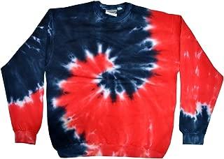 Tie Dye Crew Neck Fleece Red Blue Spiral Sweatshirt Adult S-3XL Long Sleeve