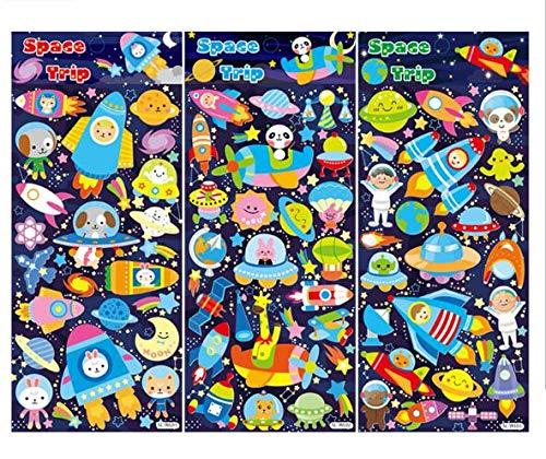 Blour Material Stickers Waterdicht, stickers voor luchtbellen, cosmische luchtbellen, stickers voor puzzels, dieren, 4 stuks