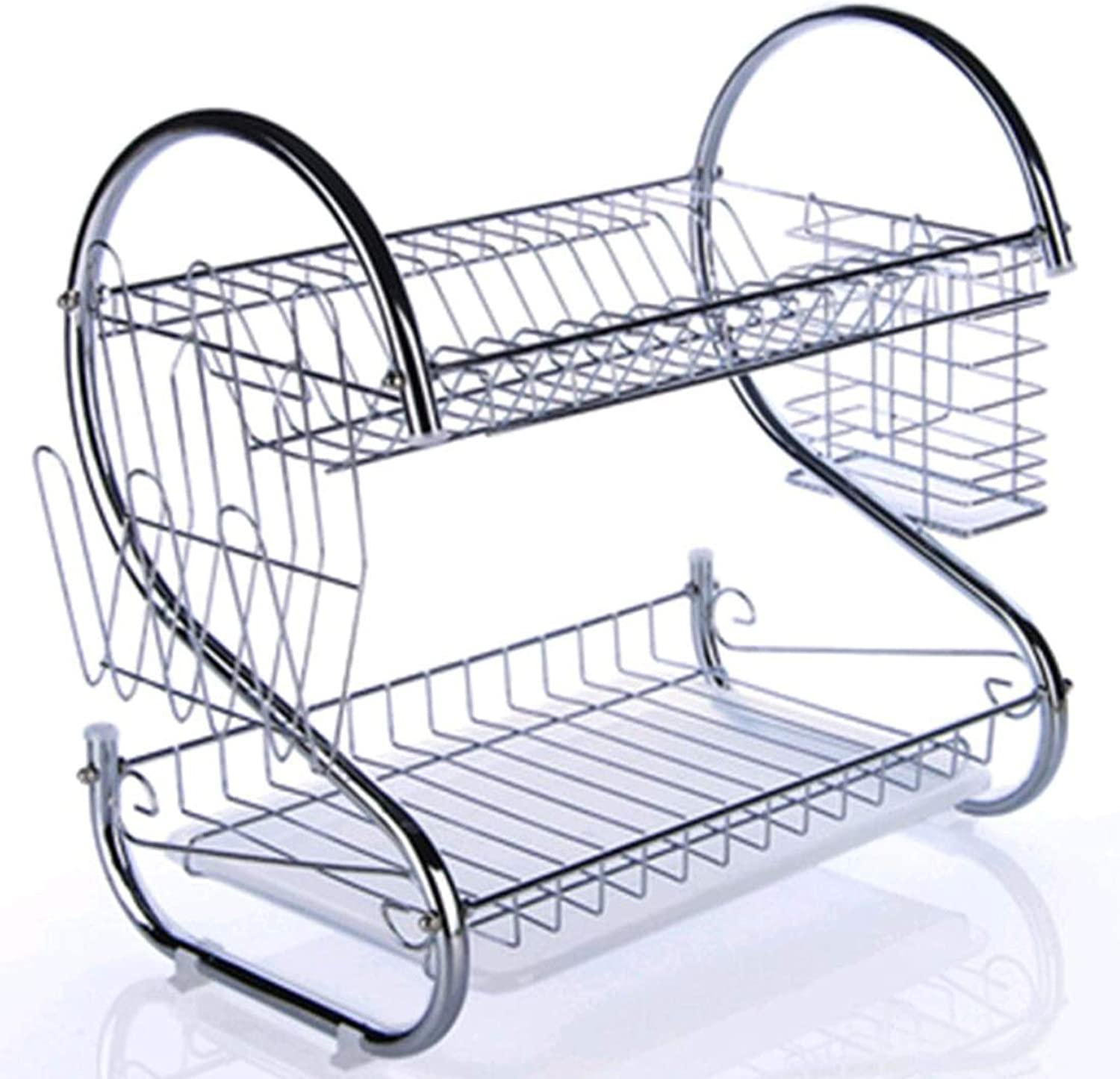 Stainless Steel Dish Rack Double Drain Dish Rack Kitchen Rack Storage and Drying Dishware Supplies Buy One Get One Free