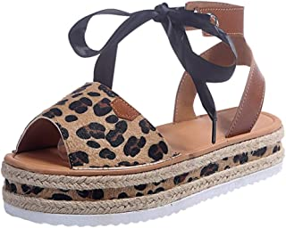 YLing Tie Up Ankle Strap Flat Sandals for Women Leopard Thick Flat Open Toe Sandals