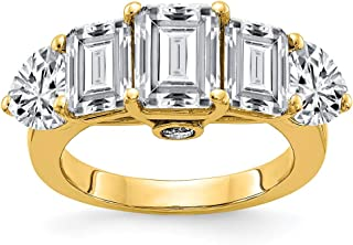 14k Yellow Gold Engagement Band Ring G H I True Moissanite Size 7.00 Light ?stone Fine Jewelry Gifts For Women For Her