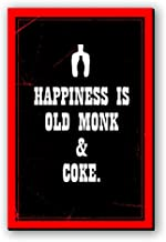 Seven Rays Happiness is Old Monk and Coke Wooden Fridge Multipurpose Magnet