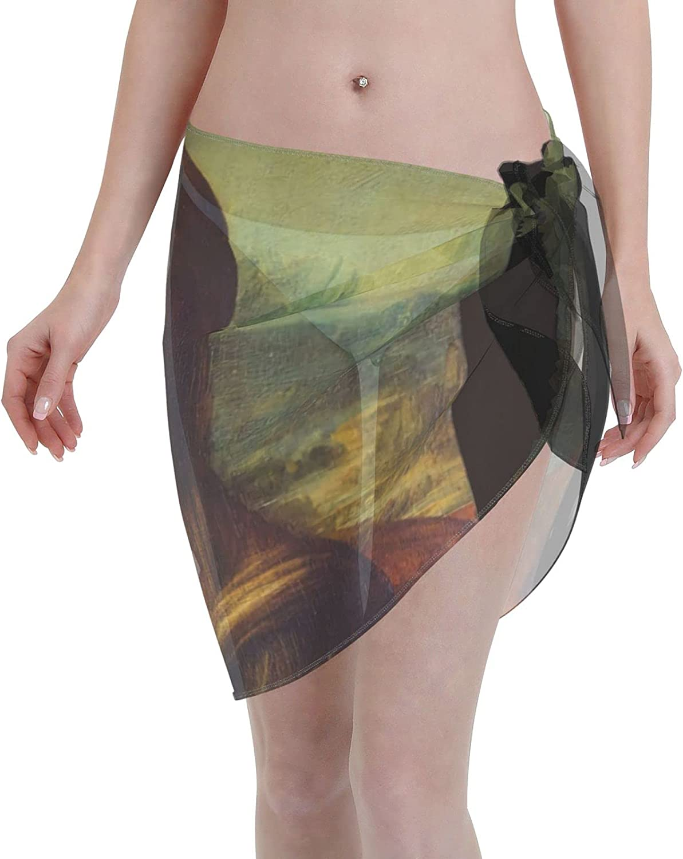 Luyhusgfh Mona Lisa Women Short Sarongs Beach Wrap Sheer Bikini Wraps Chiffon Cover Ups for Swimwear Black