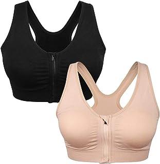 Women's Zip Front Sports Bra Wireless Post-Surgery Bra...