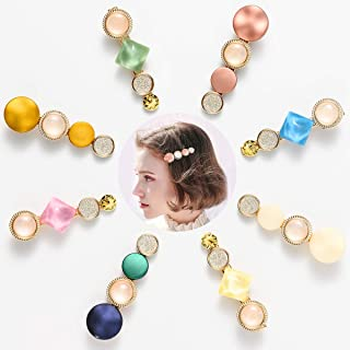 Pearl Hair Clips For Women Girls Valentine Macaron Colors Fashion Hair Barrettes Korean Styles Rhinestones Bobby Pins Decorative Acrylic Resin Cute Accessories Handmade Birthday Mother's Day Gift 8pcs