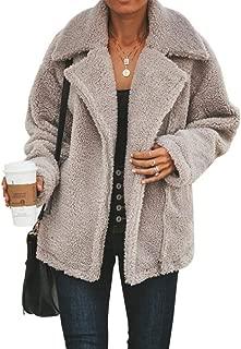 YYW Women Fuzzy Aviator Jacket Shaggy Fleece Outwear Coat Fuzzy Cardigan Overcoat Casual Lapel Fluffy Cardigans